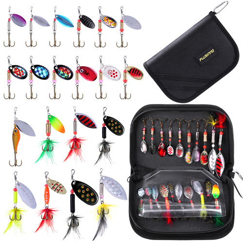 PLUSINNO 20pcs Fishing Lure Spinnerbait Kit with Carrier