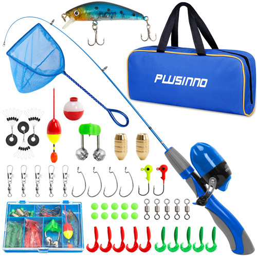 PLUSINNO ED- Kids Blue Fishing Pole Reel with Fishing Net
