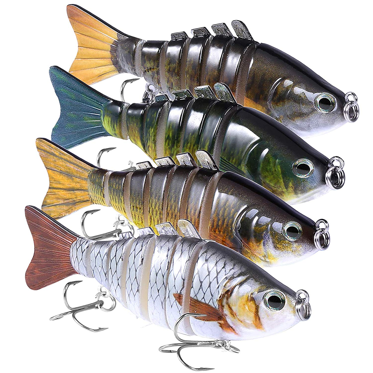 PLUSINNO Fishing Lures for bass, Multi Jointed Trout Swimbaits-4 pack