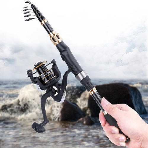 PLUSINNO Fishing Rod and Reel Combos -Elite Hunter 6D Full Kit with Carrier Case