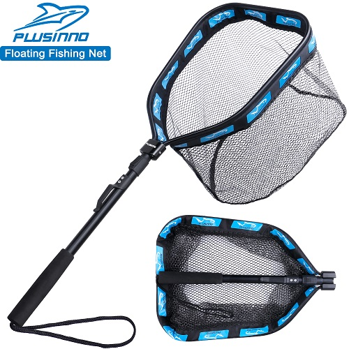 PLUSINNO Floating Fishing Net -11.8inch 30cm Hoop Size Blue (Fixed Pole)