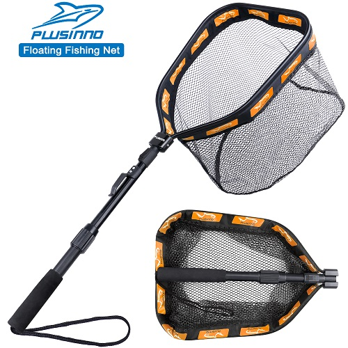 PLUSINNO Floating Fishing Net -11.8inch 30cm Hoop Size Orange (Fixed Pole)