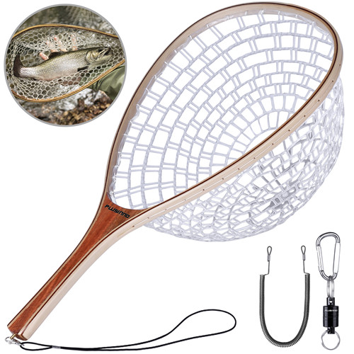 PLUSINNO Fly Fishing Net With Magnetic Release-Straight handle