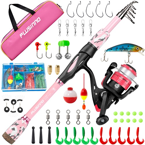 PLUSINNO Kids Fishing Rod and Reel Combo Kit-4DPink