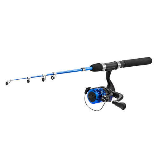 PLUSINNO LK- Kids Black Fishing Pole and Reel Combo with Bag