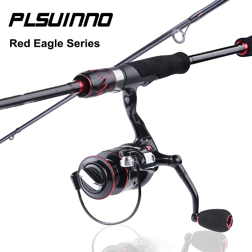 PLUSINNO Red Eagle Spinning Fishing Rod and Reel Combos