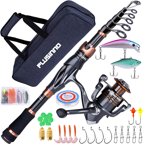 PLUSINNO Telescopic Fishing Rod and Reel Combo, Carbon Fiber Fishing Pole P-VII