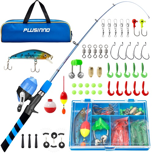 PLUSINNO XMF - Kids Fishing Portable Telescopic Fishing Rod and Reel Combo Kit -Blue
