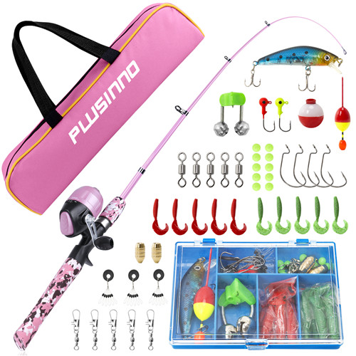 YD-Kids Pink Fishing Pole with Spincast Fishing Reel and Bag